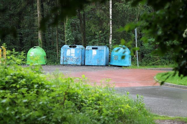 contenedor azul para reciclar